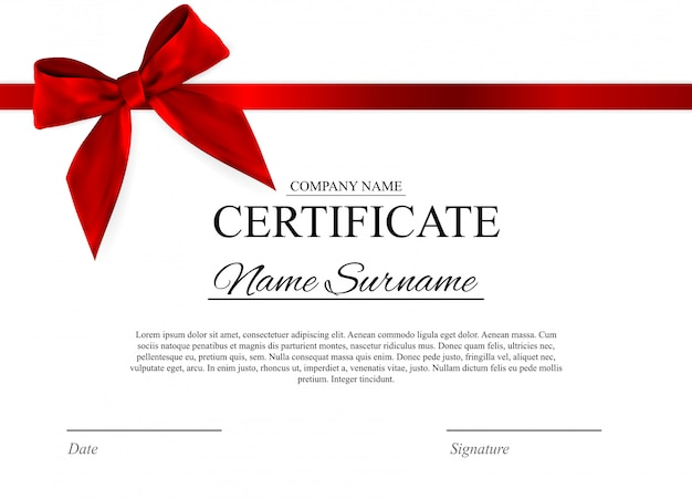 Certificate template  with red bow Premium Vector