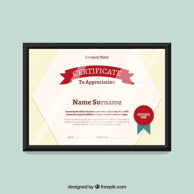 Certificate Template with red seal Vector – Download Certificate Templates
