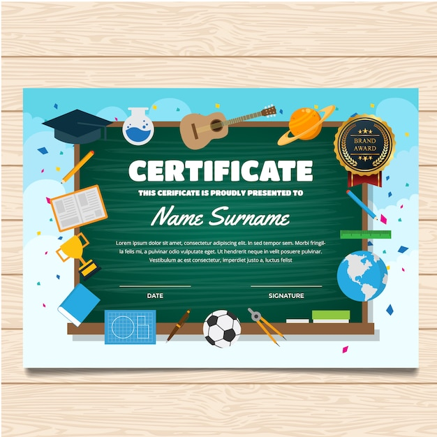Certificate template with school design vector premium download certificate template with school design premium vector yadclub Image collections