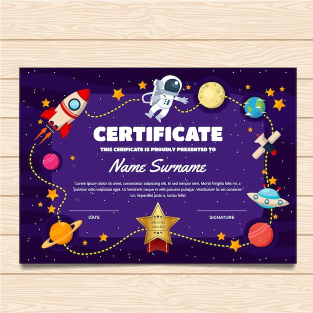 Certificate template with space design Vector | Premium ...