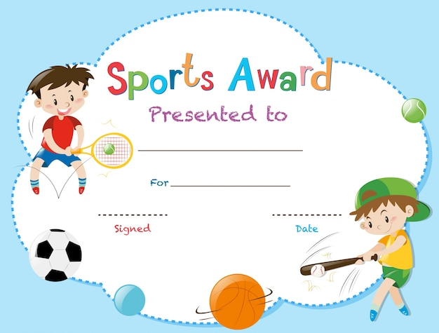 Certificate template with two boys playing sports vector premium certificate template with two boys playing sports premium vector yadclub