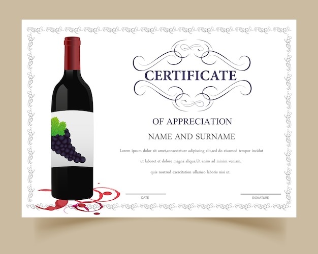 Certificate template with wine design Vector | Free Download