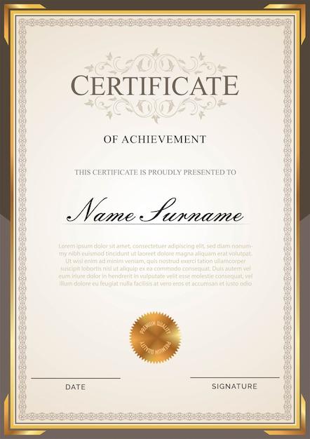 Certificate template Premium Vector