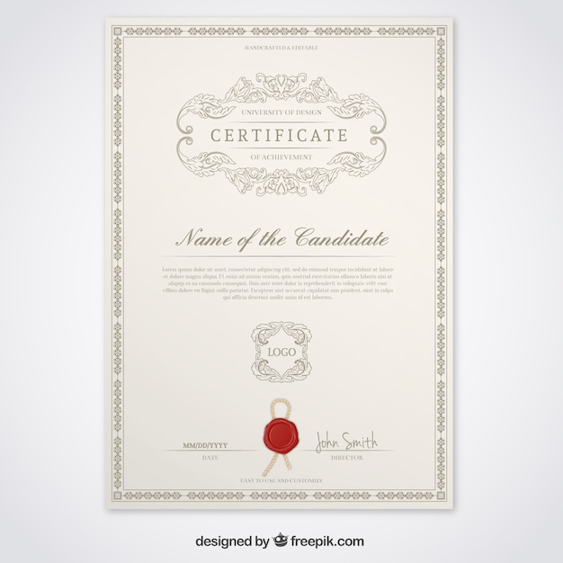 Certificate template vector free download certificate template free vector yadclub Choice Image