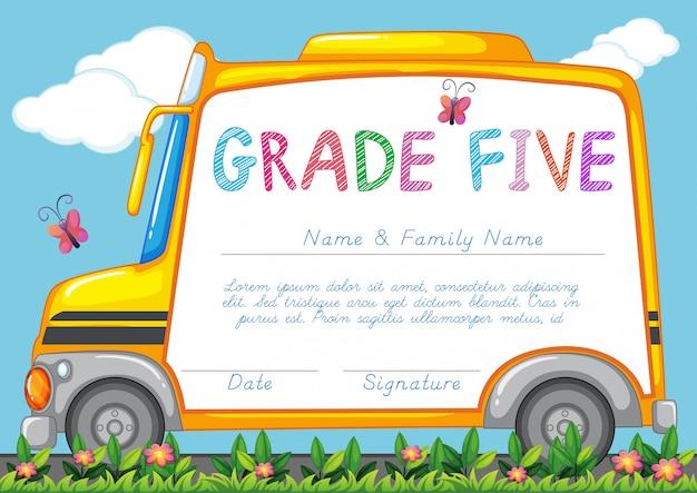 公園でスクールバスの背景を持つ証明書 無料ベクター