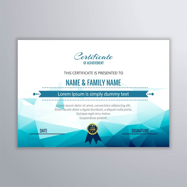 Certificate With Blue Polygonal Shapes Vector Free Download