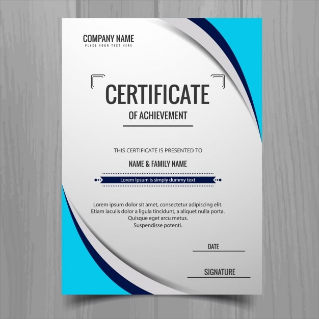 certificate with blue shapes vector free download