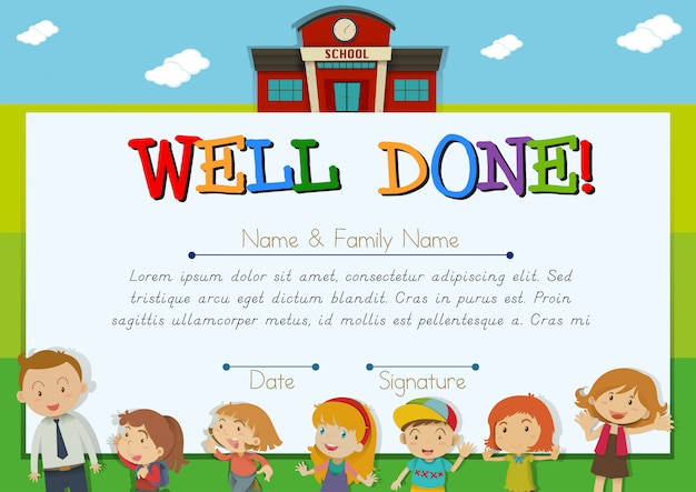 Certificate with children at school Free Vector