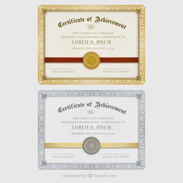 Certificates of achievement Premium Vector
