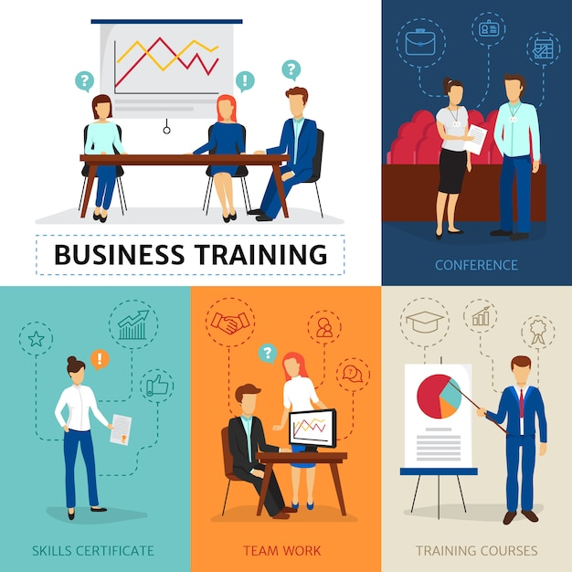 Certified business consulting program with training course conferences and workshops Free Vector