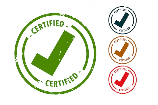 Certified checkmark tick rubber stamp set design Free Vector