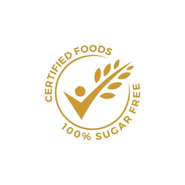 Certified food people check grain oat leaf tick verified gluten free badge or label Premium Vector
