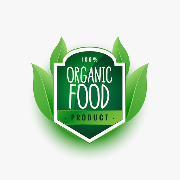 Certified organic food product green label or sticker Free Vector