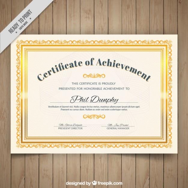 Certified ornamental golden frame Free Vector