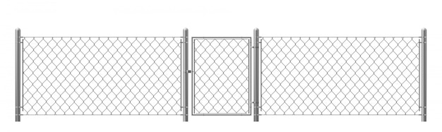 Chain-link fencing with wicket realistic vector Free Vector