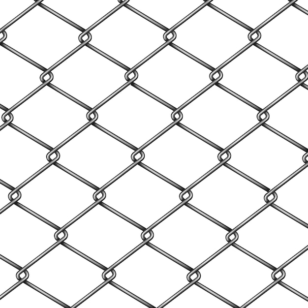 Chain-link, rabitz fence fragment or pattern 3d realistic vector isolated on white background. Free Vector