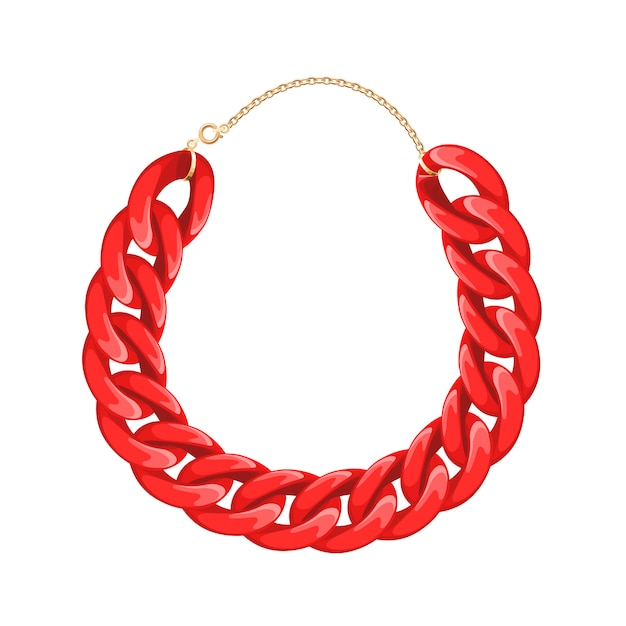 Chain necklace or bracelet - red color. personal fashion accessory . Premium Vector