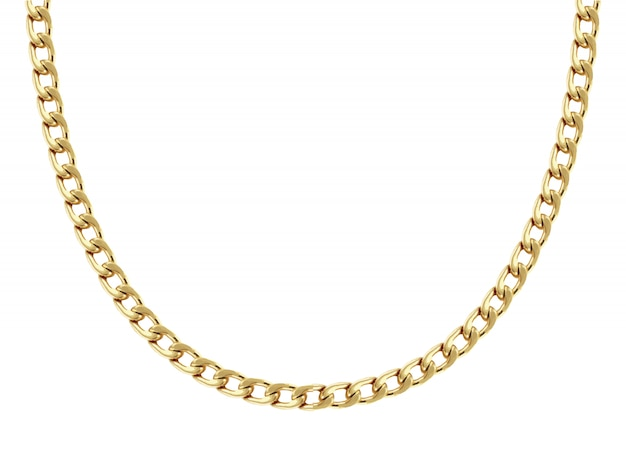 Chain necklace of yellow gold figured eight links is formed in a half round shape and shown on white Premium Vector
