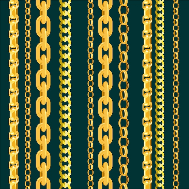 Chain  seamless pattern gold chainlet in line or metallic link of jewelry illustration Premium Vector