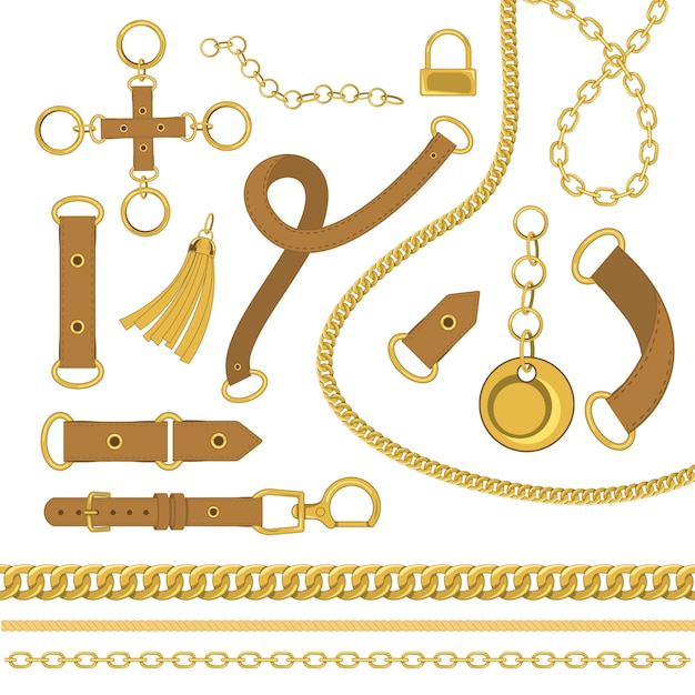 Chains and belts vector design elements . baroque style vector illustration Premium Vector