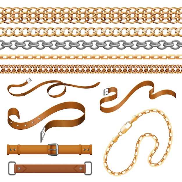 Chains and braids. bracelets leather belts and golden furniture elements, ornamental jewellery set Premium Vector