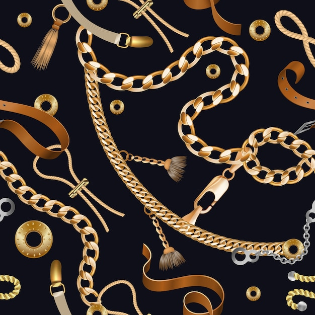 Chains and braids seamless pattern. golden embroidery and ornamental wallpaper with leather belt Premium Vector