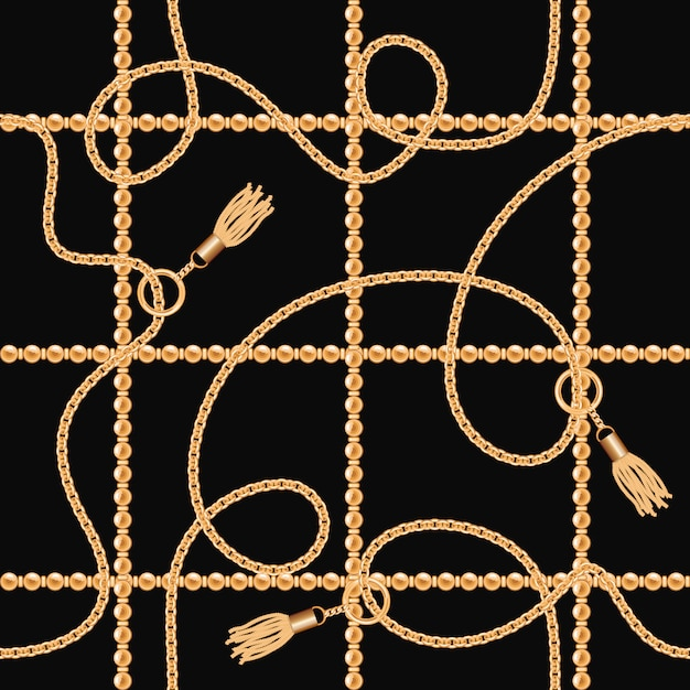 Chains with tassels seamless pattern on black background. Premium Vector