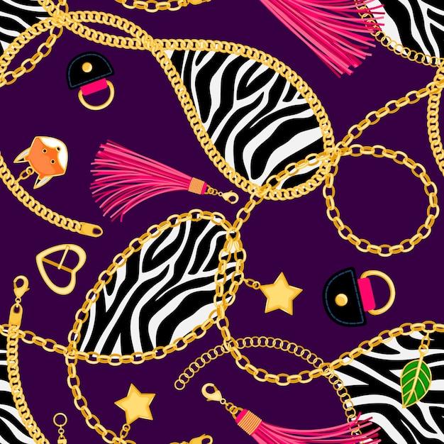 Chains zebra seamless pattern Premium Vector