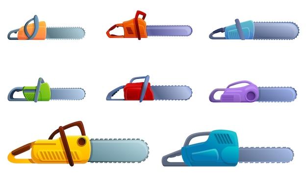 Chainsaw icons set, cartoon style Premium Vector