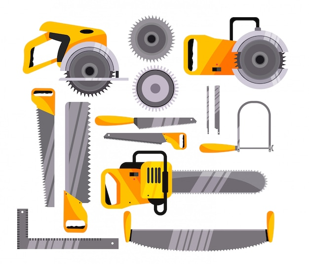 Chainsaw icons set Free Vector