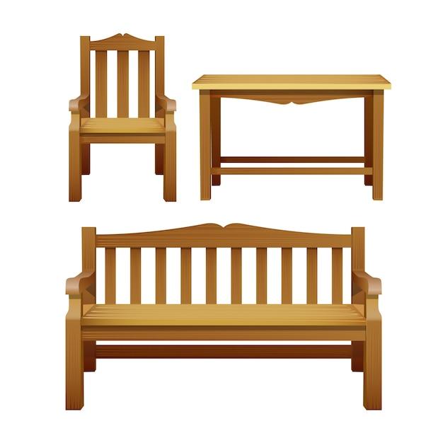 椅子、ベンチ、テーブル、屋外用木製家具一式。庭、カフェ、中庭の装飾用の装飾家具 Premiumベクター
