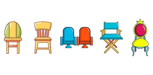 Chair icon set. cartoon set of chair vector icons set isolated Premium Vector