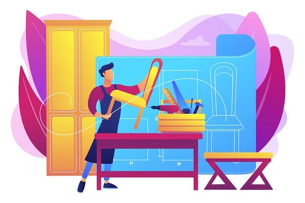 椅子の製造。インテリアデザイナー。大工のワークショップ。カスタム家具、最高のオーダーメイドの家具、マスター家具メーカーのコンセプト。 無料ベクター
