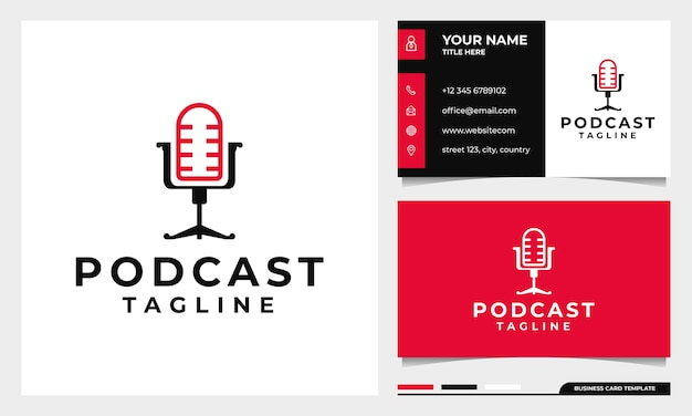 Chair podcast mic logo design with business card template Premium Vector