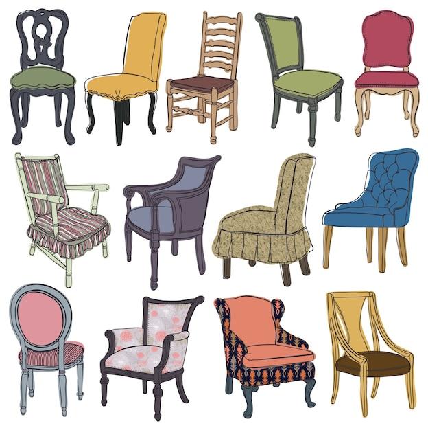 Набор стульев и кресел Бесплатные векторы