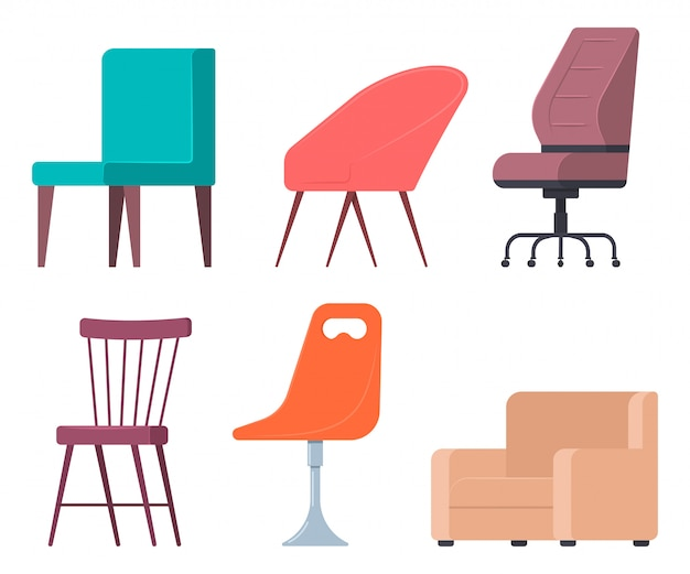 Chairs and armchairs vector flat set of home and office furniture elements. Premium Vector