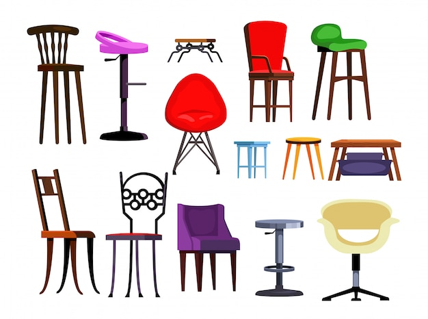 Chairs set illustration Free Vector