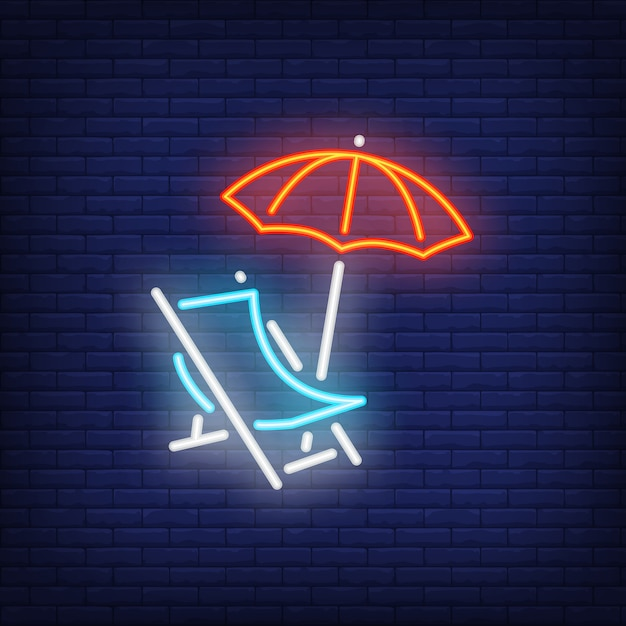 Chaise-lounge neon sign. beach chair and umbrella on dark brick wall background. Free Vector