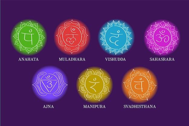 Chakra set colorato Vettore gratuito