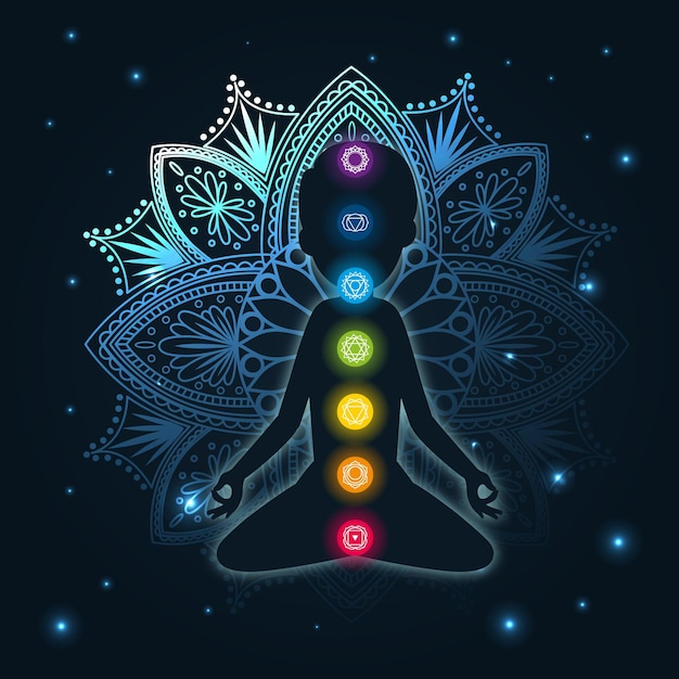 Chakras concept with mandala and focal points Premium Vector