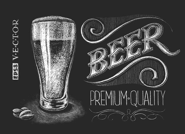 Chalk beer glass on blackboard. Premium Vector
