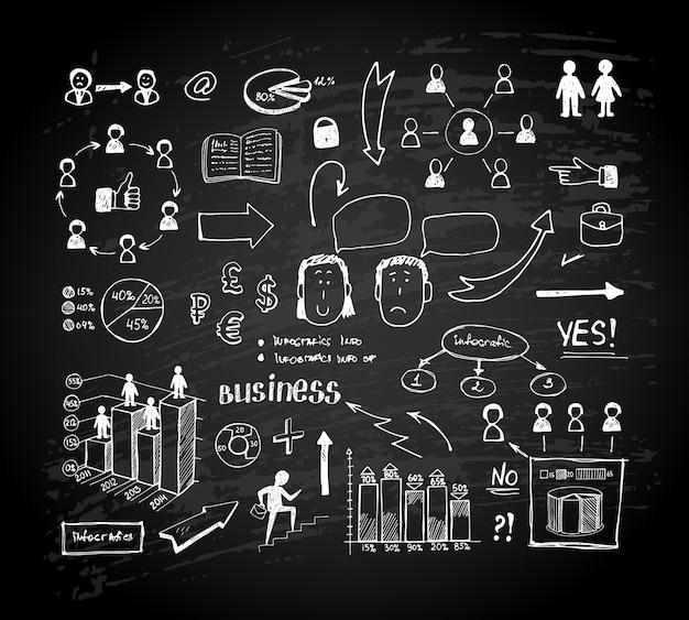 チョークボード落書きチャート。黒板のビジネスグラフとチャート。ベクトルイラスト 無料ベクター
