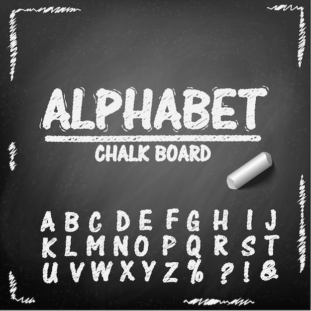 Chalk board hand drawing alphabet Premium Vector