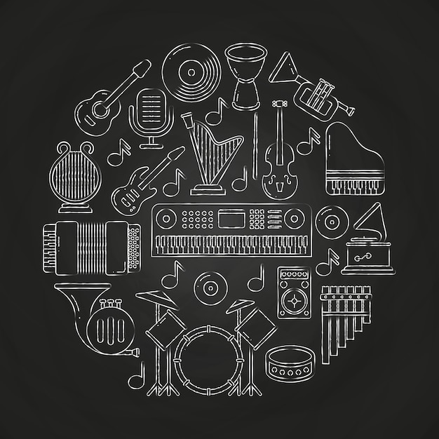 Chalk drawing vector musical instruments composition on blackboard Premium Vector