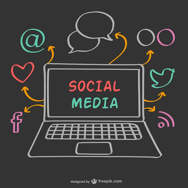 Chalk laptop and social media icons Free Vector