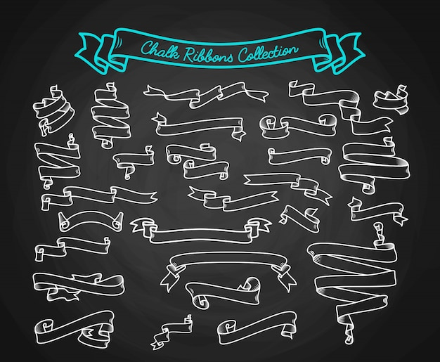 Chalk ribbons collection hand draw on chalkboard Free Vector
