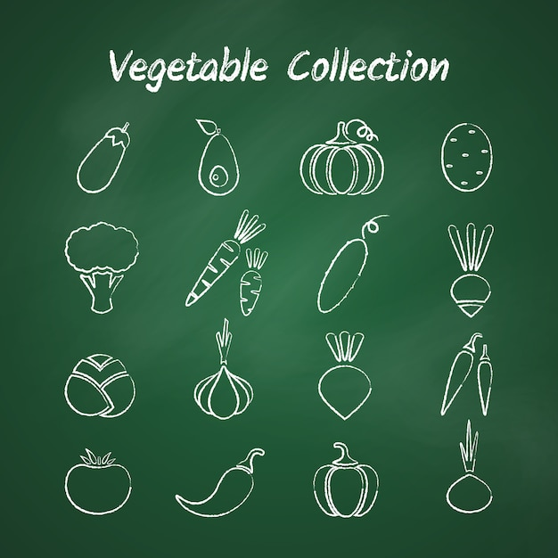 Chalk style outline vegetable set Premium Vector