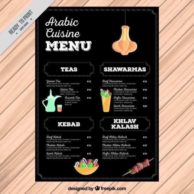 Chalkboard arabic cuisine elegant menu vector premium for Arabic cuisine menu