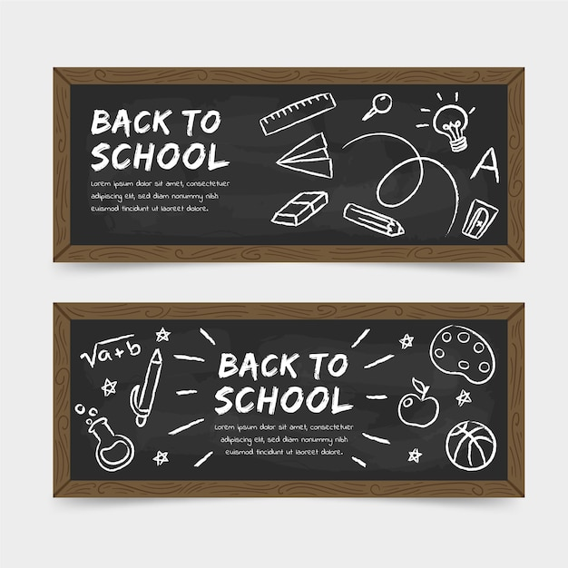 Chalkboard back to school banners Free Vector