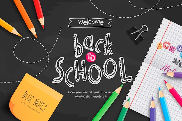 Chalkboard back to school with school supplies Free Vector